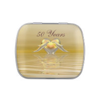 Golden Anniversary Dolphins and Heart Jelly Belly Tin