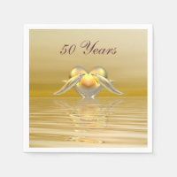 Golden Anniversary Dolphins and Heart Paper Napkin