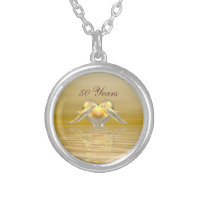 Golden Anniversary Dolphins and Heart Silver Plated Necklace