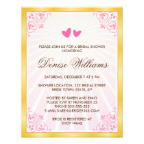 Golden border pink hearts romantic bridal shower
