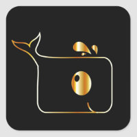 Golden Dolphin graphic Square Sticker