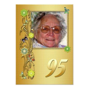 Golden Garden 95th Birthday party invitation