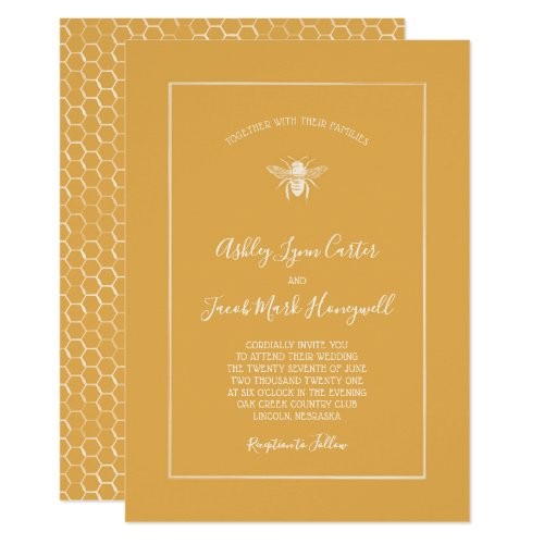 Golden Honeycomb Pattern Wedding Invitation