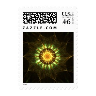 Golden mandala postage stamps