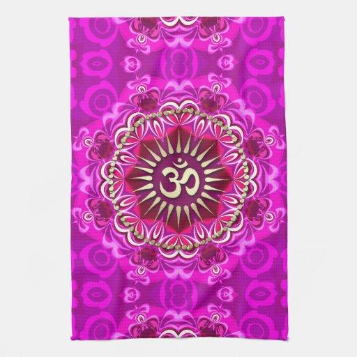 Golden OM Modern Pink Floral Batik Cloth Banner Towel
