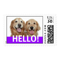 Golden Retriever Hello Postage Stamp