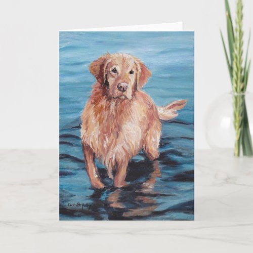 Golden Retriever in Water Dog Art Greeting Card