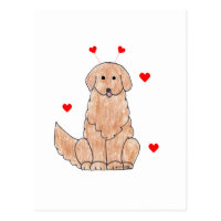 Golden Retriever Valentine Ears Postcard