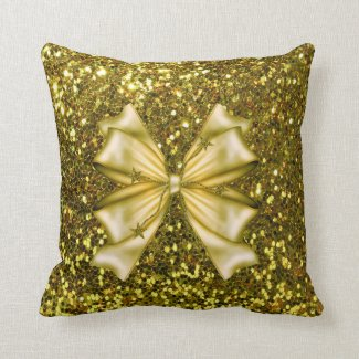 Golden Sequins with Bow Throw Pillows