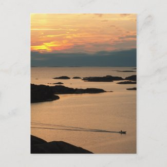 Golden sunset postcard