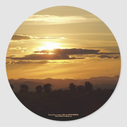 golden sunset sticker