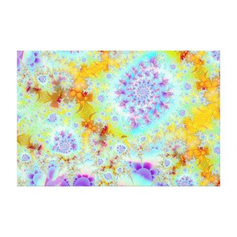 Golden Violet Sea Shells, Abstract Fractal Ocean Canvas Print
