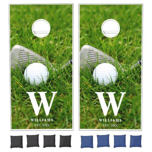 Golf Club and Ball Personalized Cornhole Set