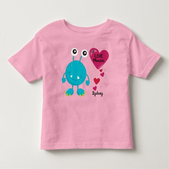 Goofy Valentine's Love Monster with Hearts | Cute Toddler T-shirt