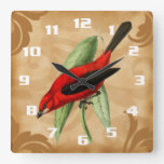 Gorgeous and Unique Vintage Style Red Bird Ornate Square Wallclocks