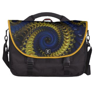 Gorgeous Deep Blue and Golden Yellow Fractal Commuter Bags
