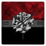 Gorgeous Grunge Rustic Red Rose Custom Gift Square Wallclocks