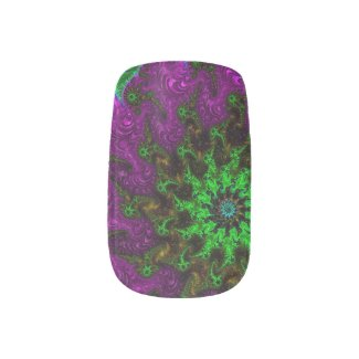 Gorgeous Purple Lavender/Neon Green Minx Nail Art