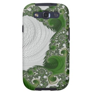 Gorgeous White and Green Fractal Twists Samsung Galaxy SIII Covers