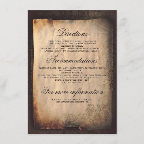 Gothic Antique Wedding Details - Information Enclosure Card