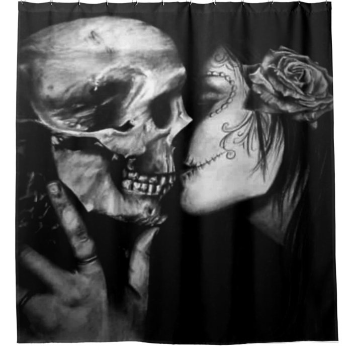 gothic day of the dead black and white skull woman shower curtain zazzle com