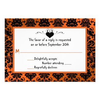 Gothic Orange and Black Damask RSVP Card Announcements