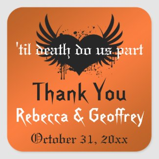 Gothic Orange, Black Winged Heart Wedding Sticker