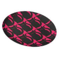 Gothic punk sweet kitty on hot pink party plate