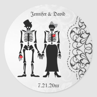 Gothic Skeleton Bride & Groom Save the Date Label Sticker