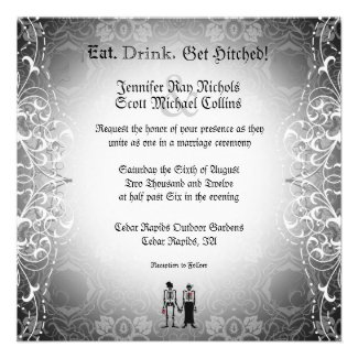Gothic Skeleton Bride & Groom Wedding Invitations
