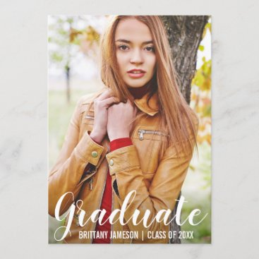 Graduation Announcement Modern Photo Card WL