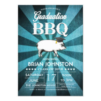 Graduation BBQ Invitations (Turquoise Blue)