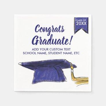 Graduation Class 2018 Congrats Blue Grad Cap Paper Napkin