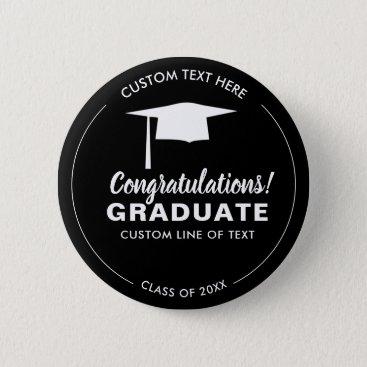 Graduation Class 2018 Grad Cap Your Color Custom Pinback Button