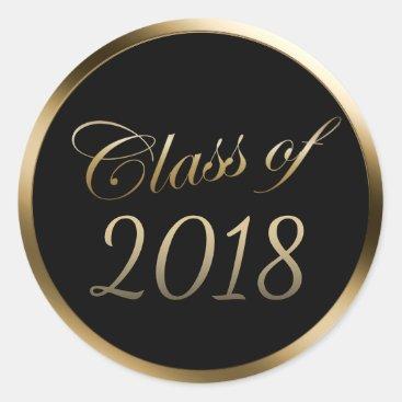 Graduation Class of 2018 Gold Border Classic Round Sticker