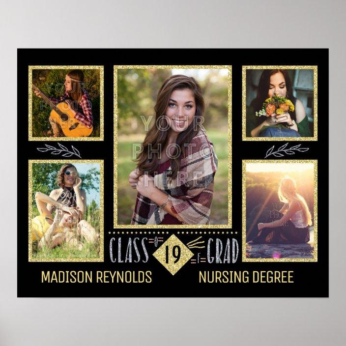 graduation high school college grad photo collage poster zazzle com