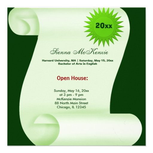 Custom Graduation Open House Invitations