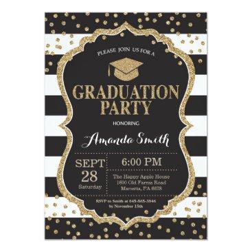 Graduation Party Black and Gold Glitter Invitation