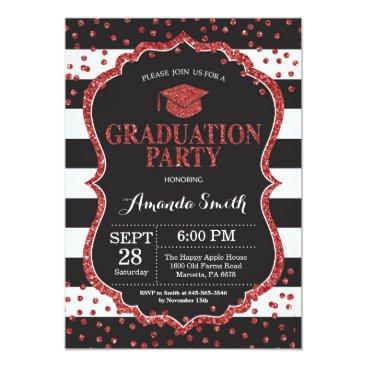Graduation Party Black and Red Glitter Invitation
