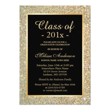 Graduation Party Trendy Gold Glitter Sparkles Invitation