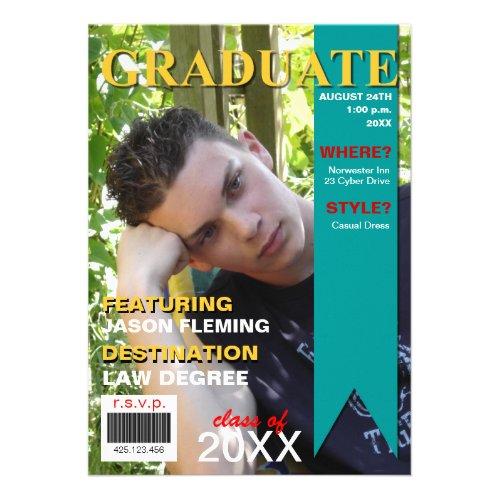 Graduation Photo Magazine Cover Invitation