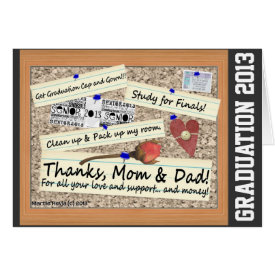 Graduation - Thanks, Mom & Dad (Personalize) Greeting Cards