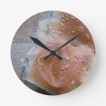 Grain Bread on Wooden Shelf, Healthy Food, Rolls Round Wall Clock