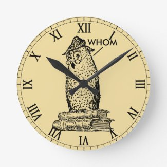 Grammar Owl Says Whom Round Clock