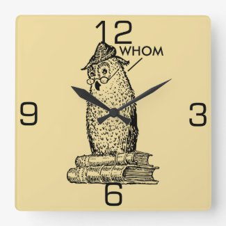Grammar Owl Says Whom Square Wall Clock