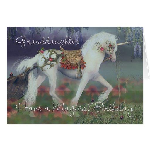 Granddaughter Birthday Card With Unicorn Fantasy Zazzle