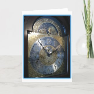 Grandfather Clock Face Greeting Cards