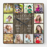 Grandkids Make Life Grand Quote 12 Photo Wood Look Square Wall Clock