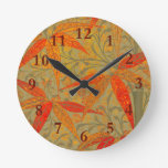 Graphic Bamboo Art Print Nouveau Pattern Round Clock