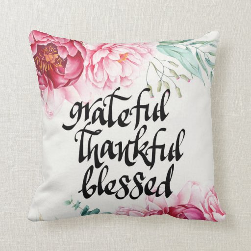 Grateful Thankful Blessed Cotton Pillow